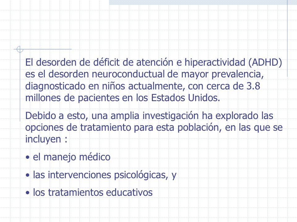 El desorden de déficit de atención e hiperactividad (ADHD) es el desorden neuroconductual de mayor prevalencia, diagnosticado en niños actualmente, co