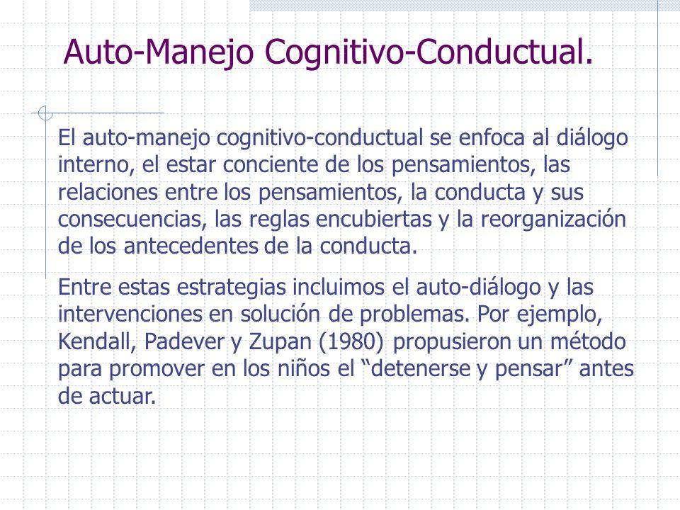 Auto-Manejo Cognitivo-Conductual. El auto-manejo cognitivo-conductual se enfoca al diálogo interno, el estar conciente de los pensamientos, las relaci