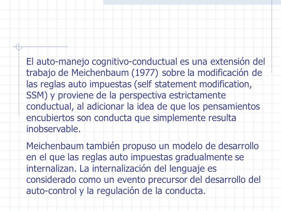 El auto-manejo cognitivo-conductual es una extensión del trabajo de Meichenbaum (1977) sobre la modificación de las reglas auto impuestas (self statem