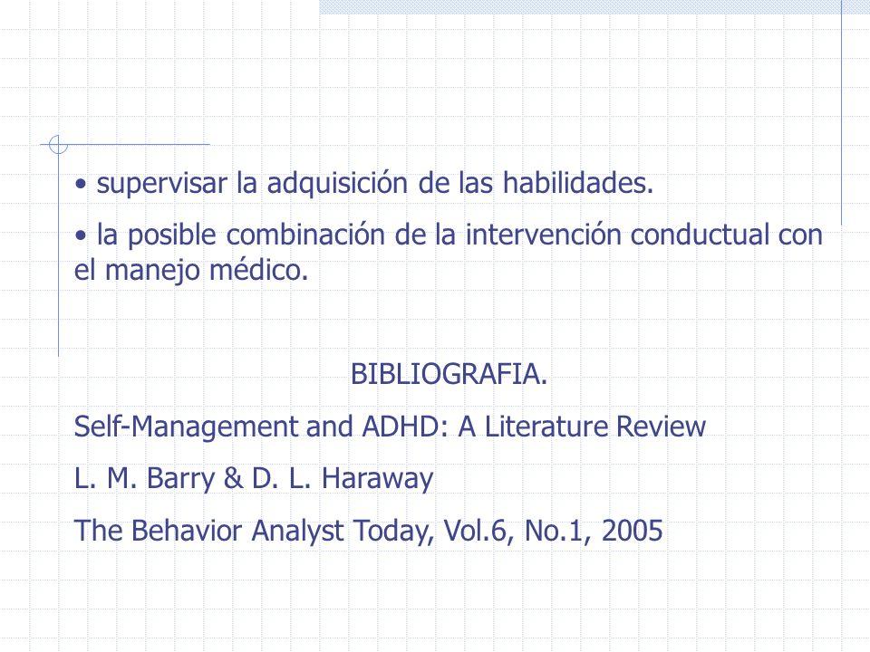 supervisar la adquisición de las habilidades. la posible combinación de la intervención conductual con el manejo médico. BIBLIOGRAFIA. Self-Management