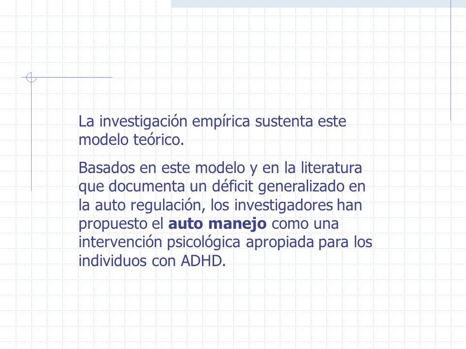 En resumen, los componentes de un auto-manejo conductual benéfico, con niños con ADHD involucran: prompts auditivos o textuales para el auto-registro de datos conductuales.