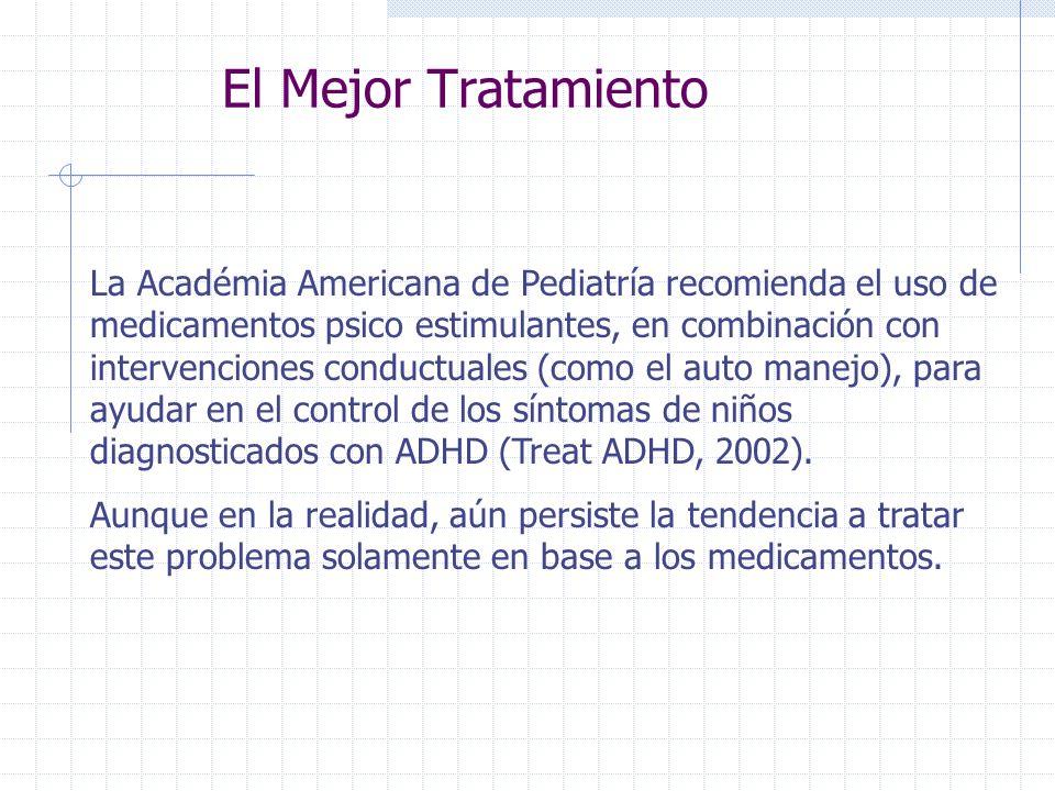 El Mejor Tratamiento La Académia Americana de Pediatría recomienda el uso de medicamentos psico estimulantes, en combinación con intervenciones conduc