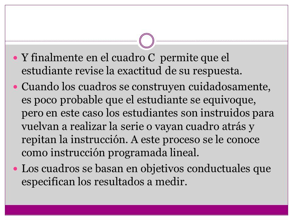 Y finalmente en el cuadro C permite que el estudiante revise la exactitud de su respuesta. Cuando los cuadros se construyen cuidadosamente, es poco pr