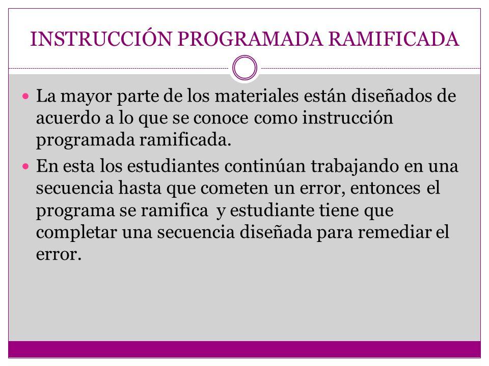 INSTRUCCIÓN PROGRAMADA RAMIFICADA La mayor parte de los materiales están diseñados de acuerdo a lo que se conoce como instrucción programada ramificad