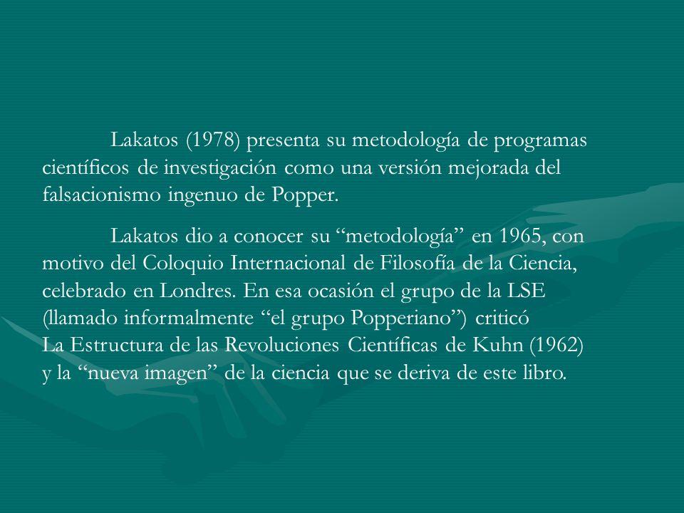 Lakatos (1978) presenta su metodología de programas científicos de investigación como una versión mejorada del falsacionismo ingenuo de Popper. Lakato
