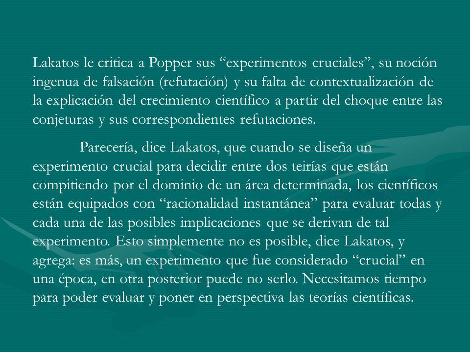 Lakatos le critica a Popper sus experimentos cruciales, su noción ingenua de falsación (refutación) y su falta de contextualización de la explicación