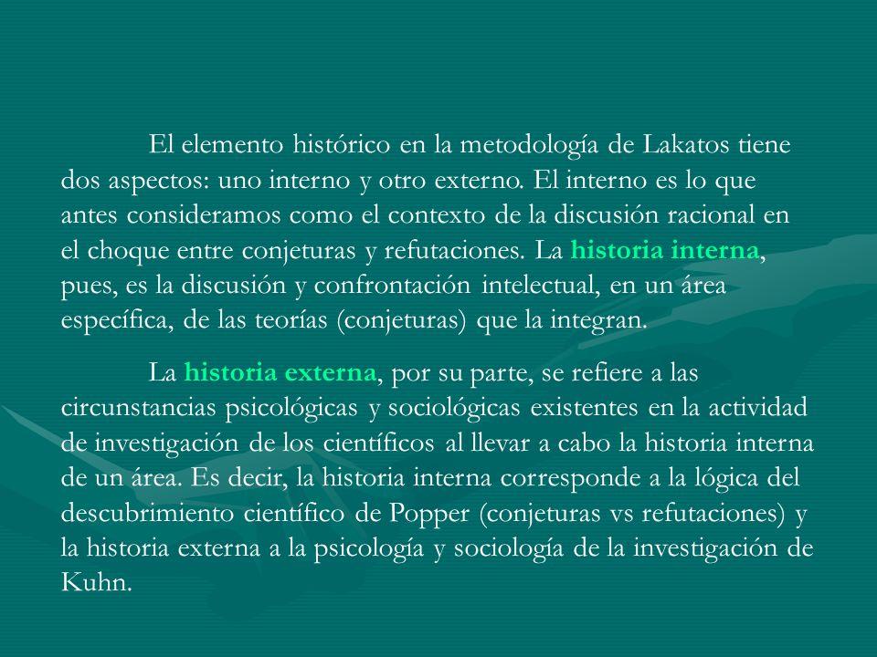 El elemento histórico en la metodología de Lakatos tiene dos aspectos: uno interno y otro externo. El interno es lo que antes consideramos como el con
