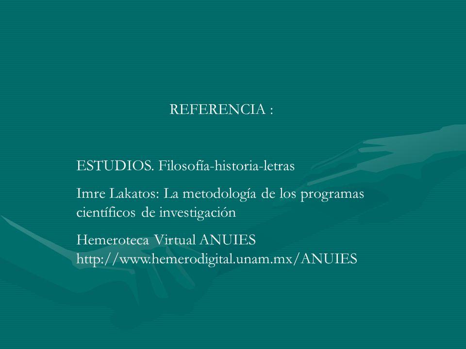 REFERENCIA : ESTUDIOS. Filosofía-historia-letras Imre Lakatos: La metodología de los programas científicos de investigación Hemeroteca Virtual ANUIES