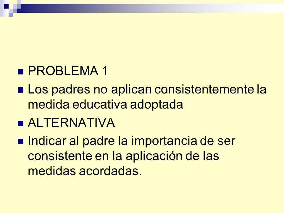 PROBLEMA 1 Los padres no aplican consistentemente la medida educativa adoptada ALTERNATIVA Indicar al padre la importancia de ser consistente en la aplicación de las medidas acordadas.