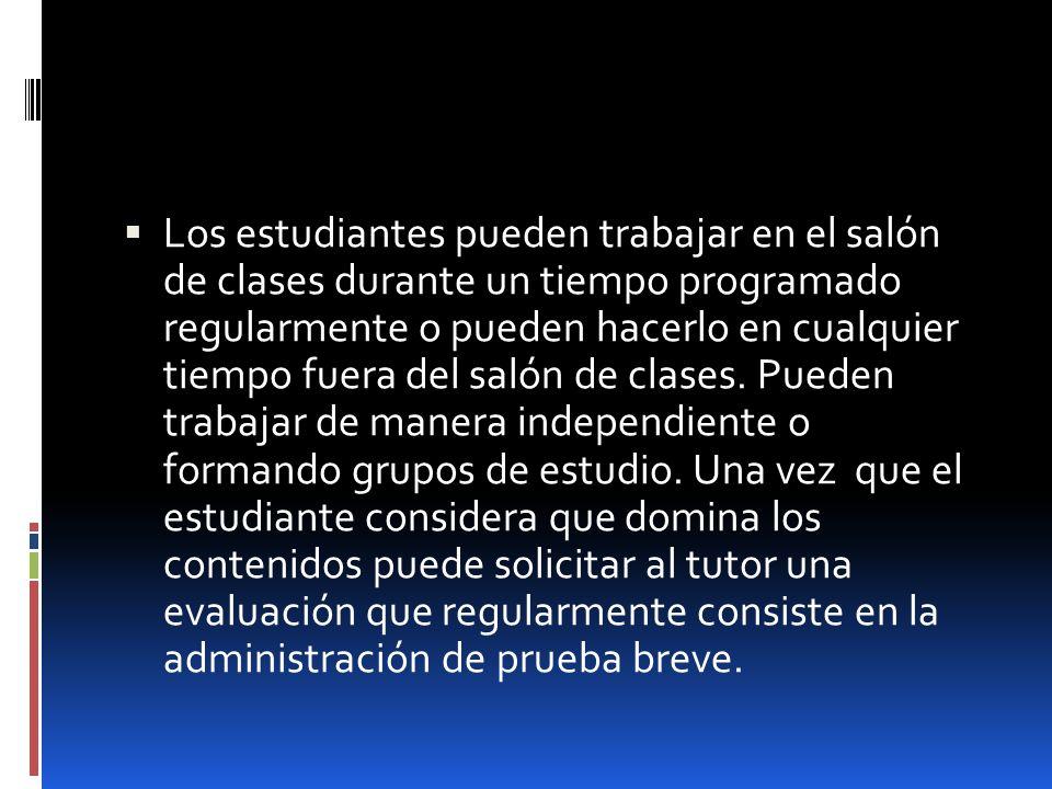 Los estudiantes pueden trabajar en el salón de clases durante un tiempo programado regularmente o pueden hacerlo en cualquier tiempo fuera del salón d
