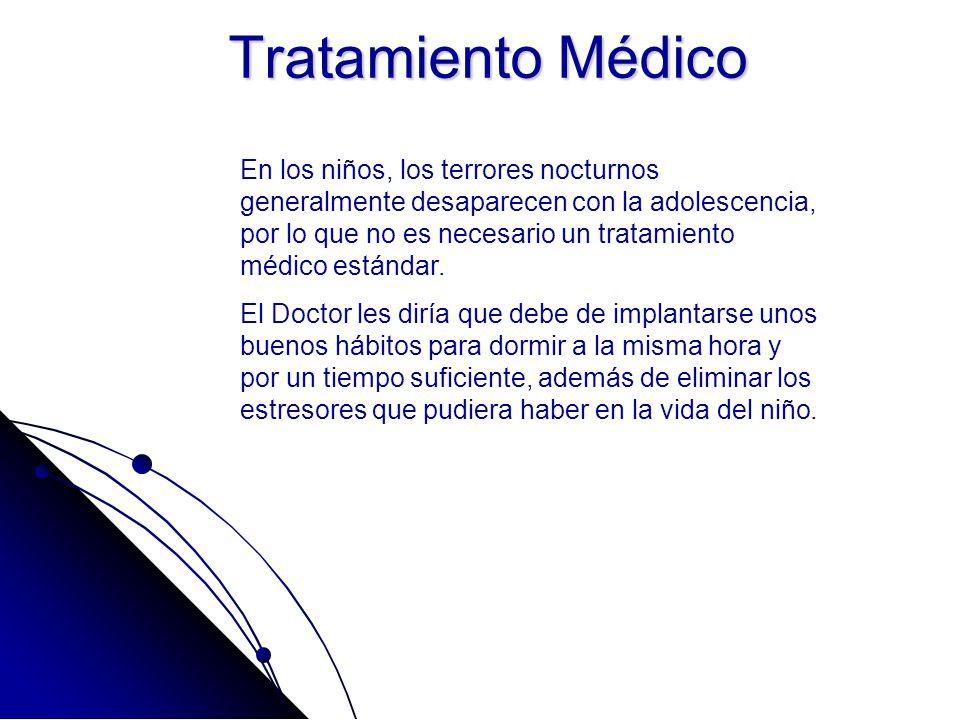 Tratamiento Médico En los niños, los terrores nocturnos generalmente desaparecen con la adolescencia, por lo que no es necesario un tratamiento médico