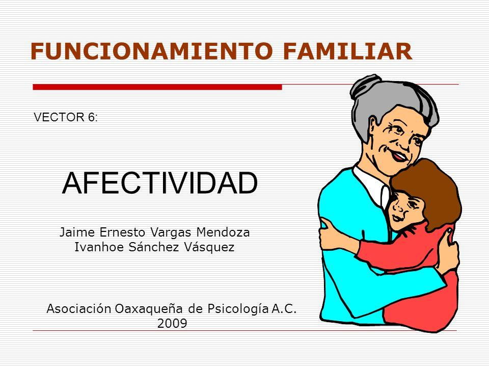 FUNCIONAMIENTO FAMILIAR VECTOR 6: AFECTIVIDAD Jaime Ernesto Vargas Mendoza Ivanhoe Sánchez Vásquez Asociación Oaxaqueña de Psicología A.C. 2009