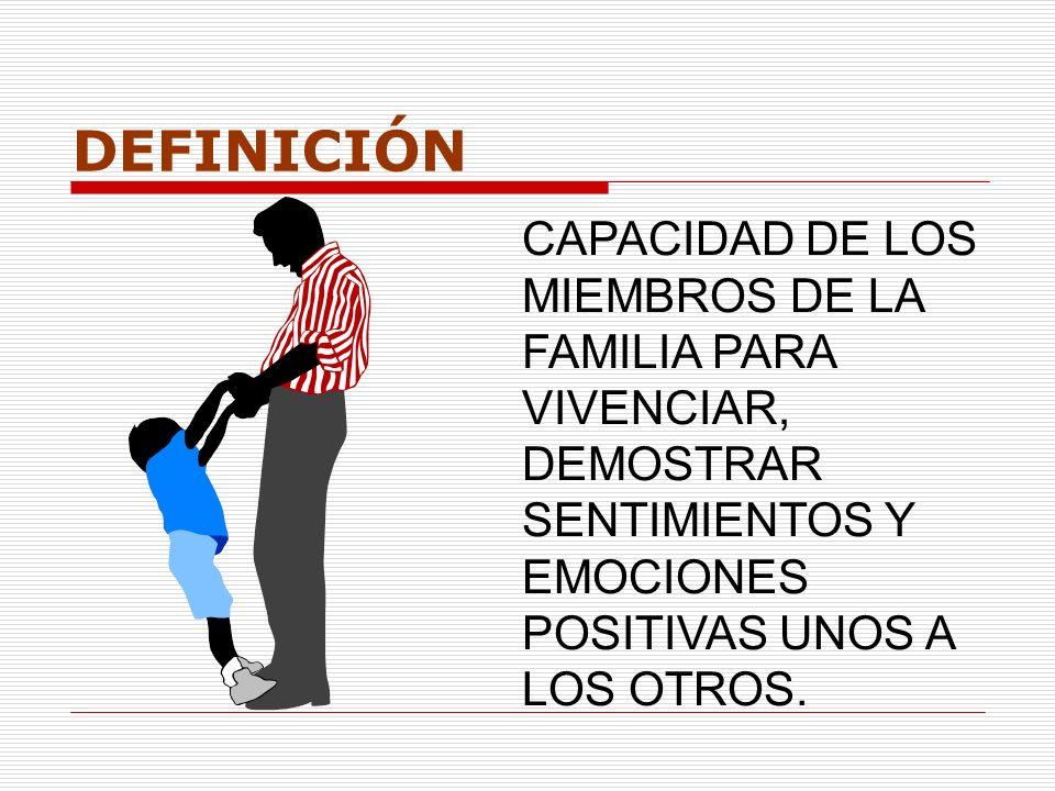 DEFINICIÓN CAPACIDAD DE LOS MIEMBROS DE LA FAMILIA PARA VIVENCIAR, DEMOSTRAR SENTIMIENTOS Y EMOCIONES POSITIVAS UNOS A LOS OTROS.