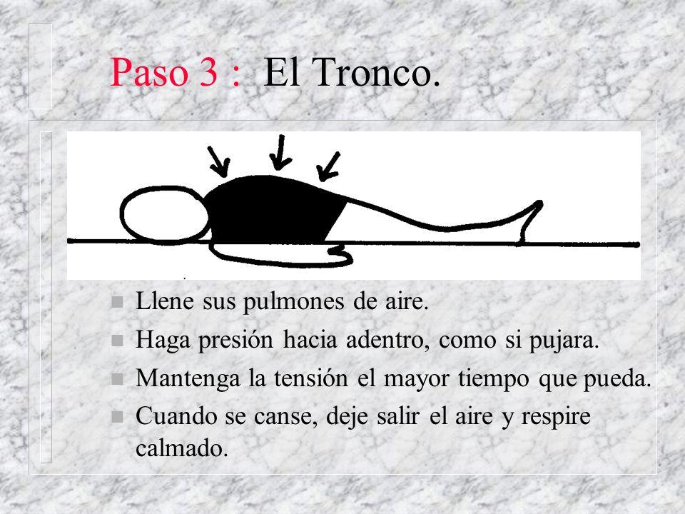 Paso 3 : El Tronco. n Llene sus pulmones de aire. n Haga presión hacia adentro, como si pujara. n Mantenga la tensión el mayor tiempo que pueda. n Cua