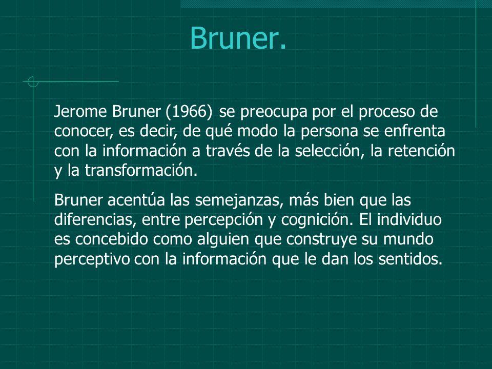Bruner. Jerome Bruner (1966) se preocupa por el proceso de conocer, es decir, de qué modo la persona se enfrenta con la información a través de la sel
