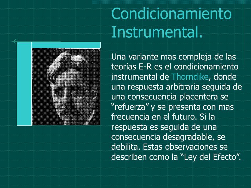 Condicionamiento Instrumental. Una variante mas compleja de las teorías E-R es el condicionamiento instrumental de Thorndike, donde una respuesta arbi