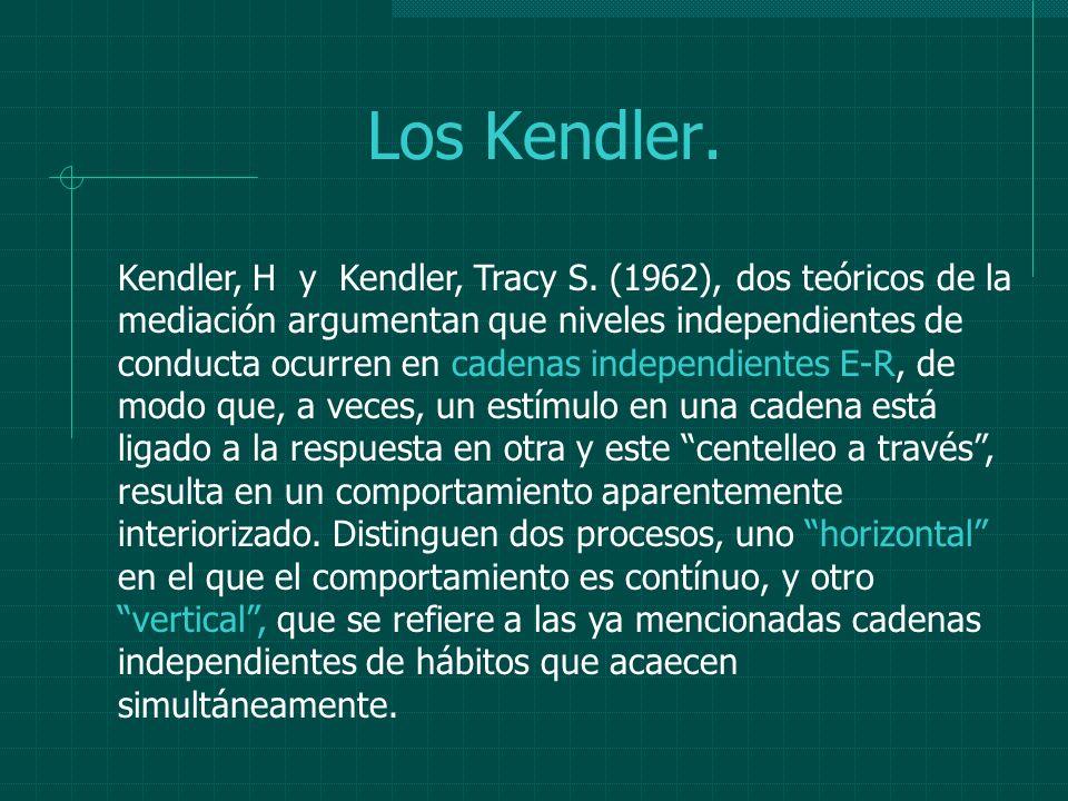 Los Kendler. Kendler, H y Kendler, Tracy S. (1962), dos teóricos de la mediación argumentan que niveles independientes de conducta ocurren en cadenas