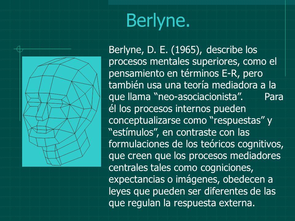 Berlyne. Berlyne, D. E. (1965), describe los procesos mentales superiores, como el pensamiento en términos E-R, pero también usa una teoría mediadora