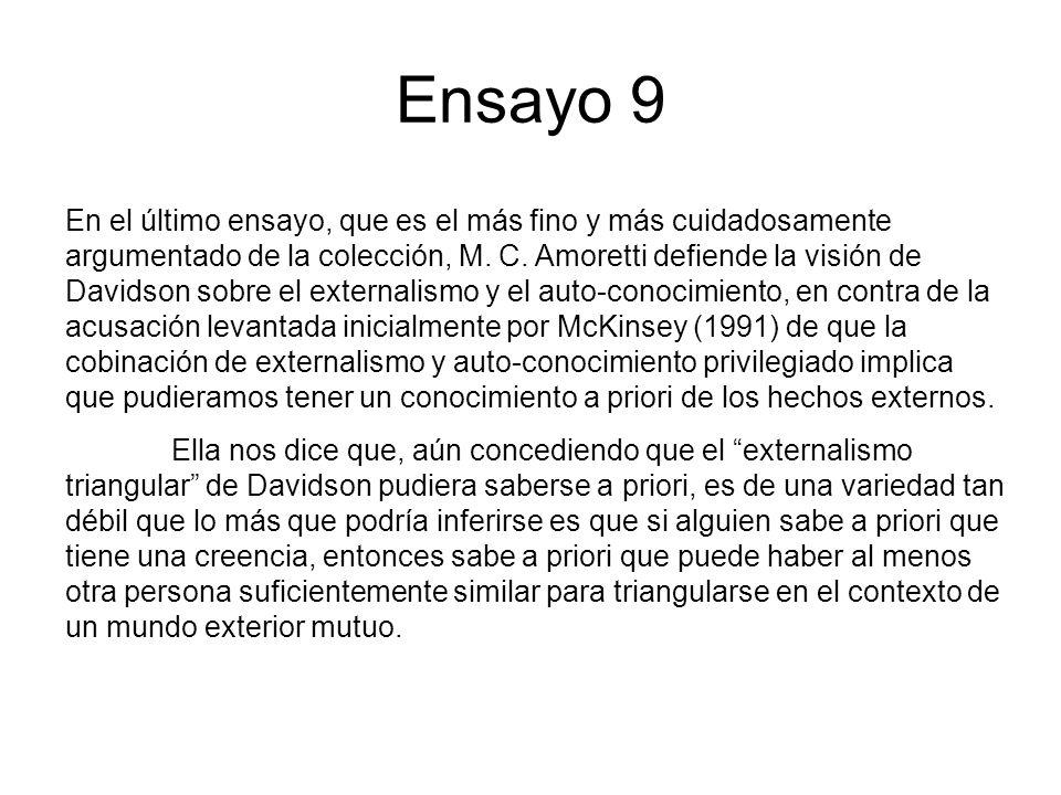 Ensayo 9 En el último ensayo, que es el más fino y más cuidadosamente argumentado de la colección, M. C. Amoretti defiende la visión de Davidson sobre