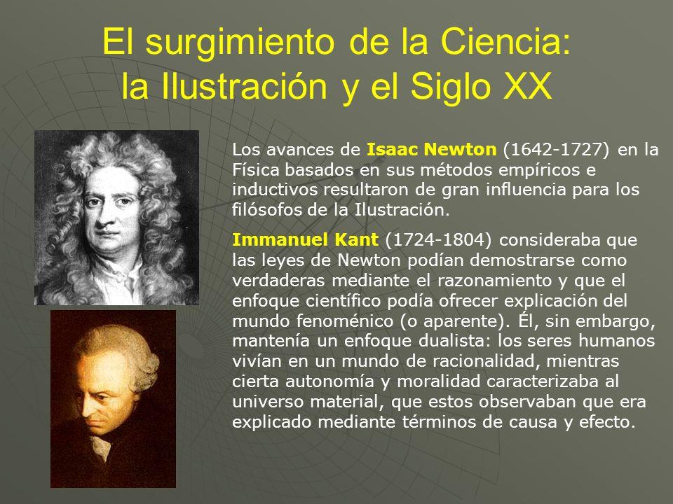 El surgimiento de la Ciencia: la Ilustración y el Siglo XX Los avances de Isaac Newton (1642-1727) en la Física basados en sus métodos empíricos e ind