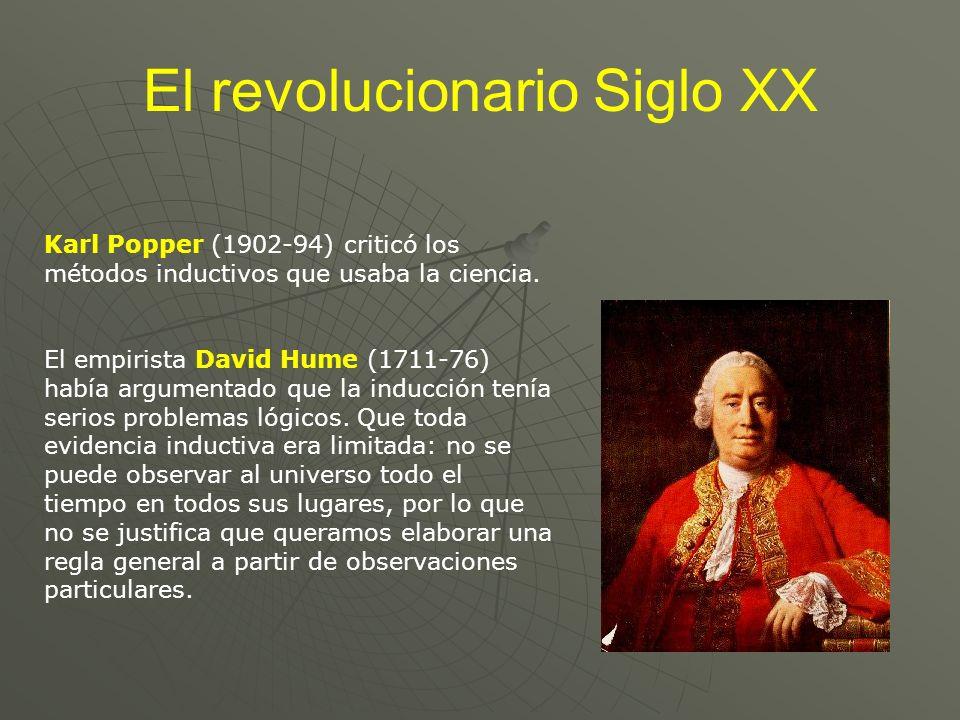 El revolucionario Siglo XX Karl Popper (1902-94) criticó los métodos inductivos que usaba la ciencia. El empirista David Hume (1711-76) había argument