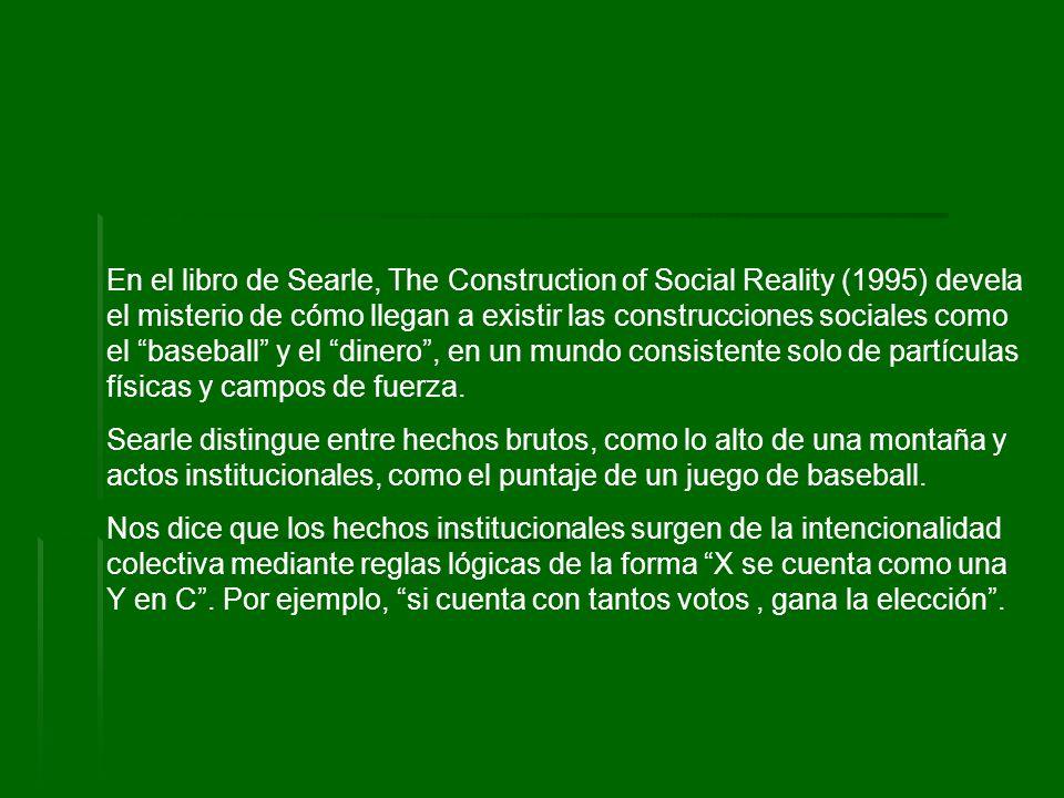 En el libro de Searle, The Construction of Social Reality (1995) devela el misterio de cómo llegan a existir las construcciones sociales como el baseb