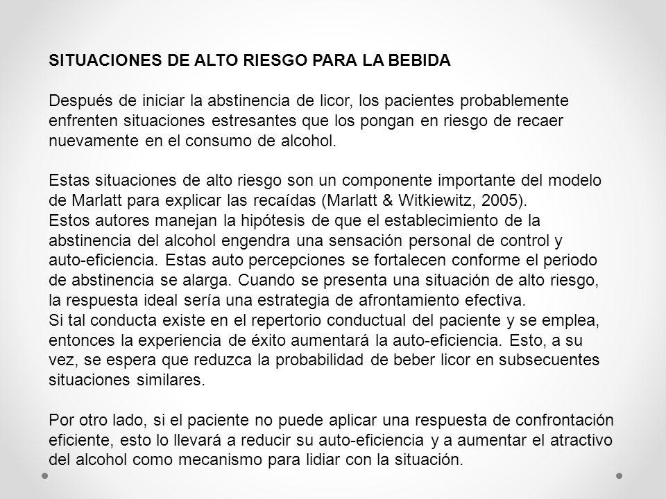 SITUACIONES DE ALTO RIESGO PARA LA BEBIDA Después de iniciar la abstinencia de licor, los pacientes probablemente enfrenten situaciones estresantes qu