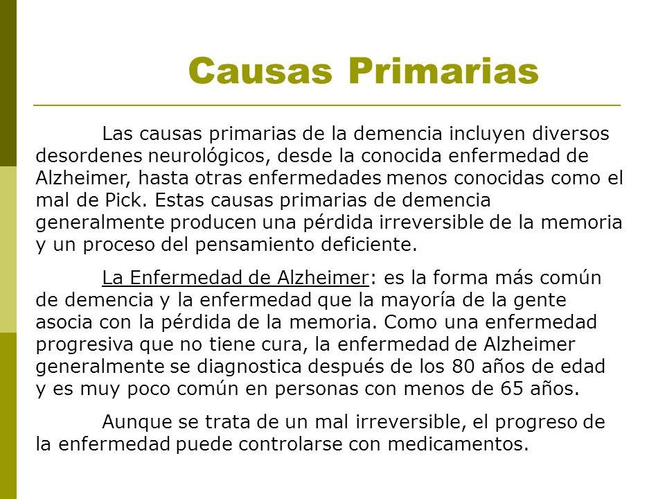 Las causas primarias de la demencia incluyen diversos desordenes neurológicos, desde la conocida enfermedad de Alzheimer, hasta otras enfermedades men