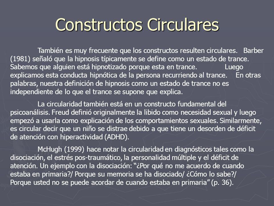 Constructos Circulares También es muy frecuente que los constructos resulten circulares. Barber (1981) señaló que la hipnosis típicamente se define co