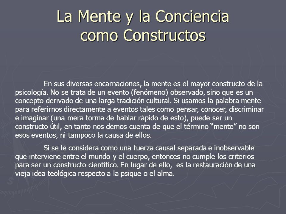La Mente y la Conciencia como Constructos En sus diversas encarnaciones, la mente es el mayor constructo de la psicología. No se trata de un evento (f