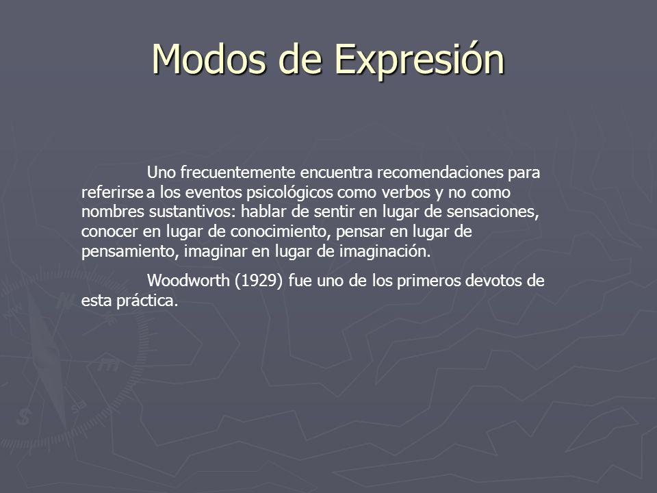 Modos de Expresión Uno frecuentemente encuentra recomendaciones para referirse a los eventos psicológicos como verbos y no como nombres sustantivos: h