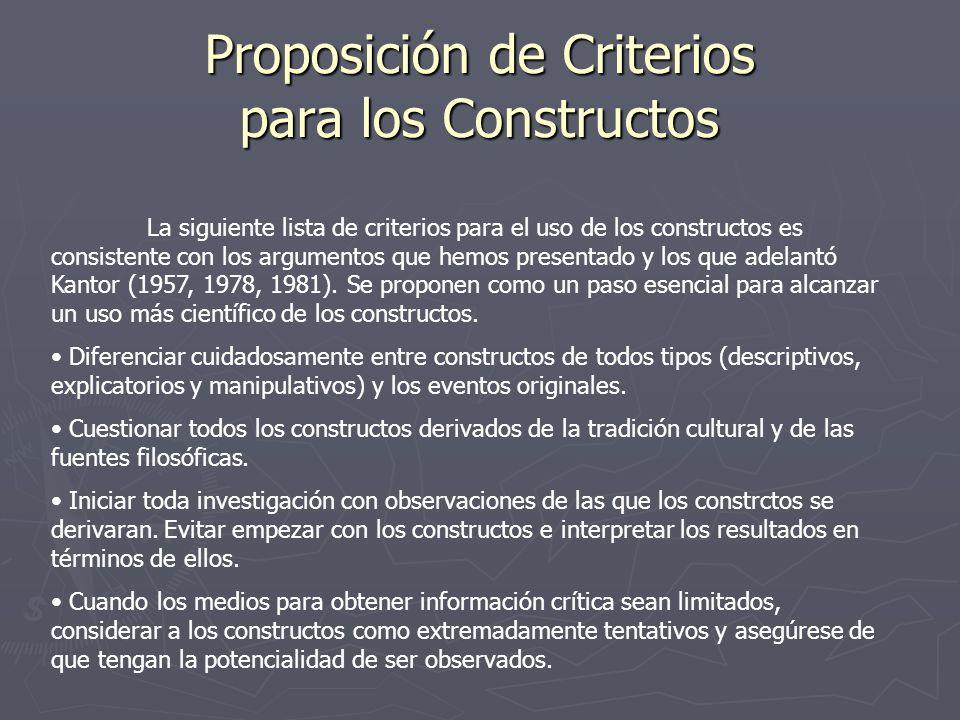 Proposición de Criterios para los Constructos La siguiente lista de criterios para el uso de los constructos es consistente con los argumentos que hem