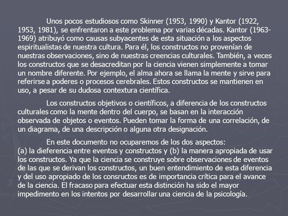 Unos pocos estudiosos como Skinner (1953, 1990) y Kantor (1922, 1953, 1981), se enfrentaron a este problema por varias décadas. Kantor (1963- 1969) at