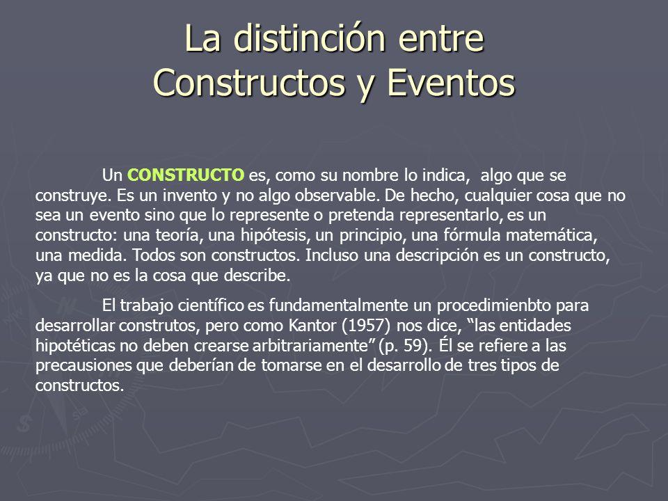 La distinción entre Constructos y Eventos Un CONSTRUCTO es, como su nombre lo indica, algo que se construye. Es un invento y no algo observable. De he