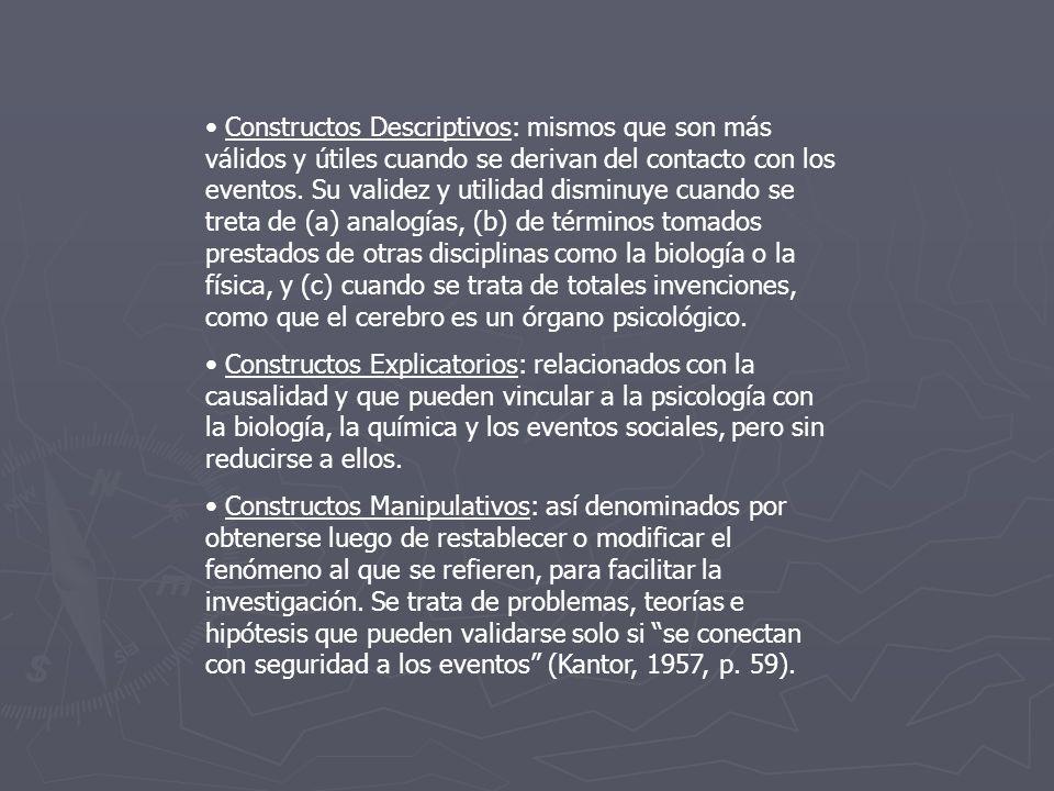 Constructos Descriptivos: mismos que son más válidos y útiles cuando se derivan del contacto con los eventos. Su validez y utilidad disminuye cuando s