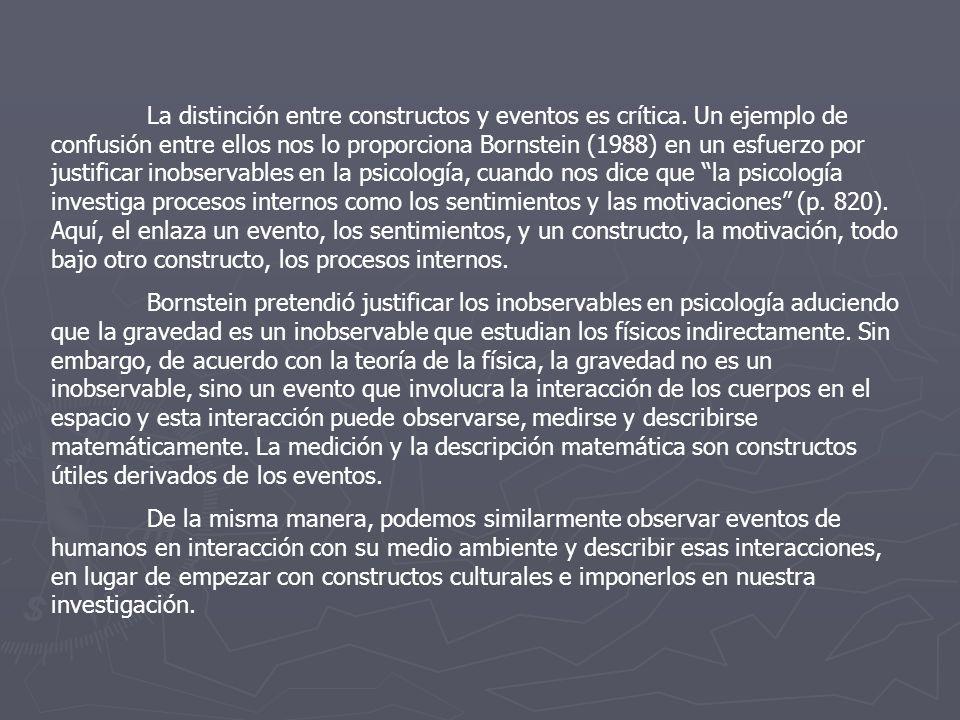 La distinción entre constructos y eventos es crítica. Un ejemplo de confusión entre ellos nos lo proporciona Bornstein (1988) en un esfuerzo por justi