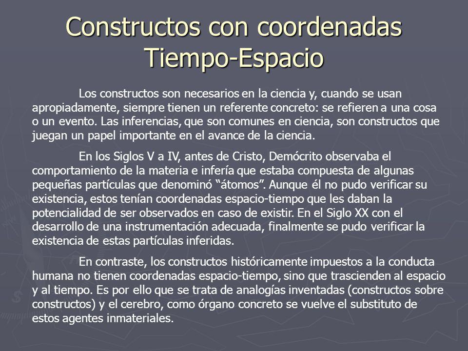 Constructos con coordenadas Tiempo-Espacio Los constructos son necesarios en la ciencia y, cuando se usan apropiadamente, siempre tienen un referente