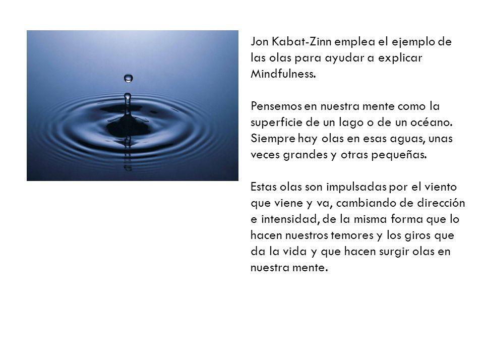 Jon Kabat-Zinn emplea el ejemplo de las olas para ayudar a explicar Mindfulness. Pensemos en nuestra mente como la superficie de un lago o de un océan