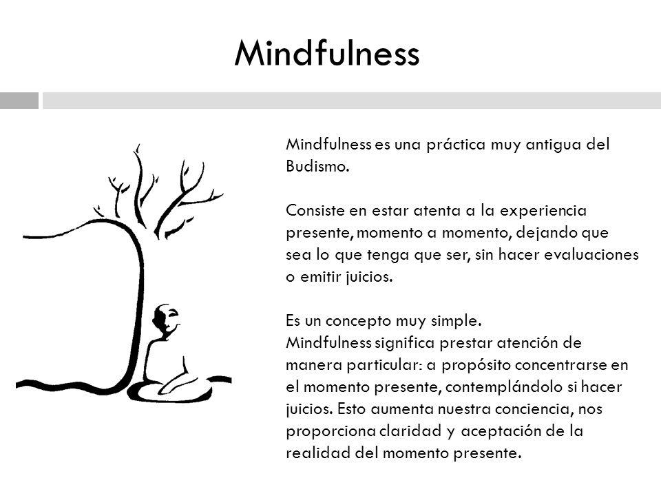 Mindfulness Mindfulness es una práctica muy antigua del Budismo. Consiste en estar atenta a la experiencia presente, momento a momento, dejando que se