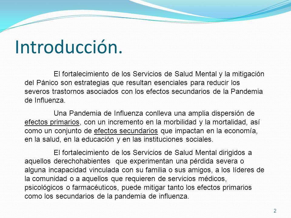 Introducción. 2 El fortalecimiento de los Servicios de Salud Mental y la mitigación del Pánico son estrategias que resultan esenciales para reducir lo