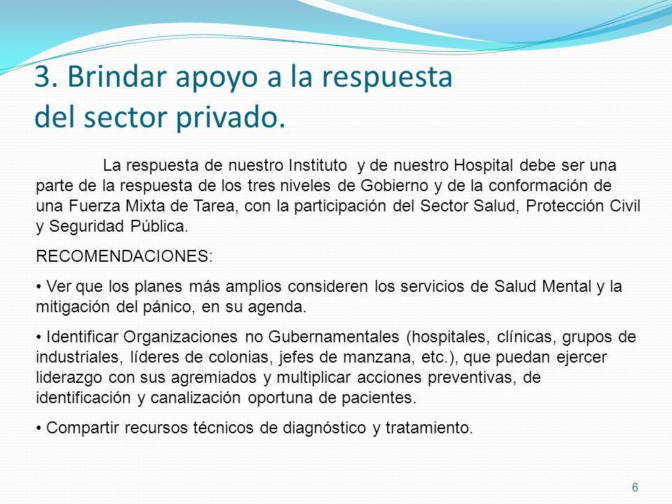 3. Brindar apoyo a la respuesta del sector privado. 6 La respuesta de nuestro Instituto y de nuestro Hospital debe ser una parte de la respuesta de lo