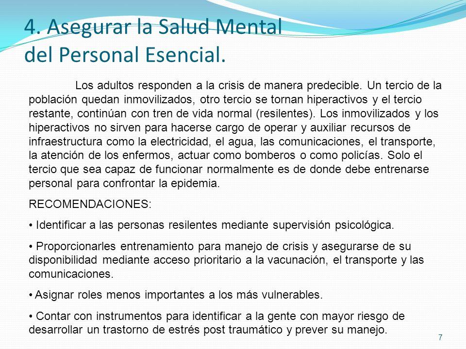 4. Asegurar la Salud Mental del Personal Esencial. 7 Los adultos responden a la crisis de manera predecible. Un tercio de la población quedan inmovili