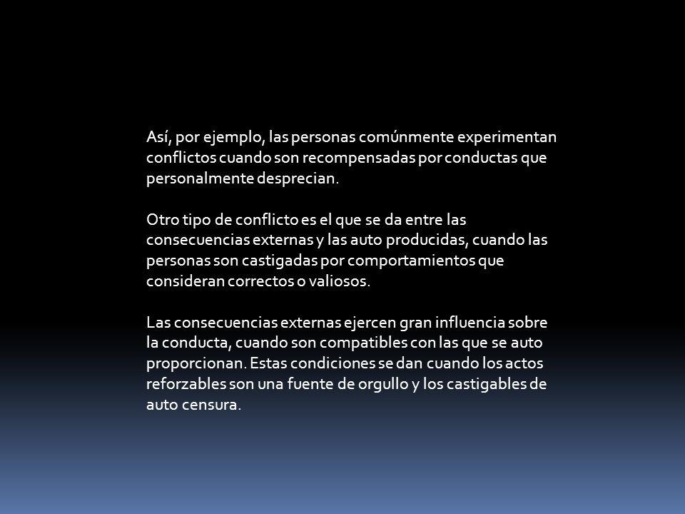Aunque las influencias del auto reforzamiento sirven como reguladoras de la conducta, pueden ser disociadas de costos censurables mediante prácticas auto exonerantes (Bandura, 1973).