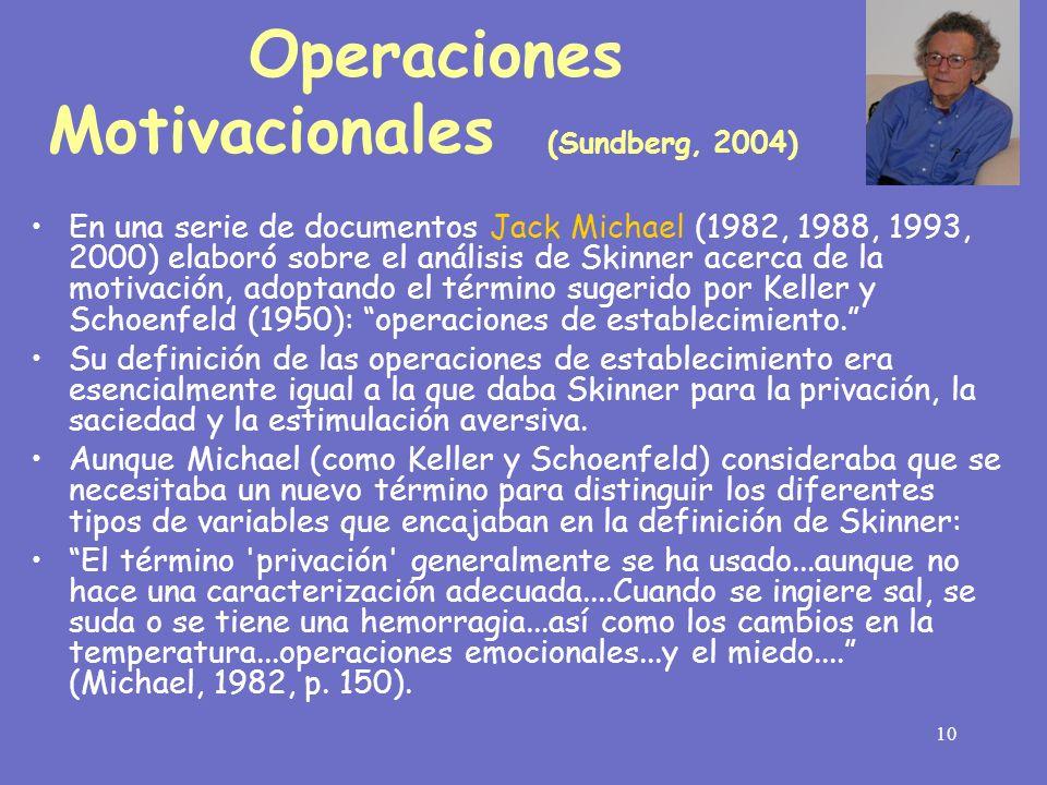 10 En una serie de documentos Jack Michael (1982, 1988, 1993, 2000) elaboró sobre el análisis de Skinner acerca de la motivación, adoptando el término
