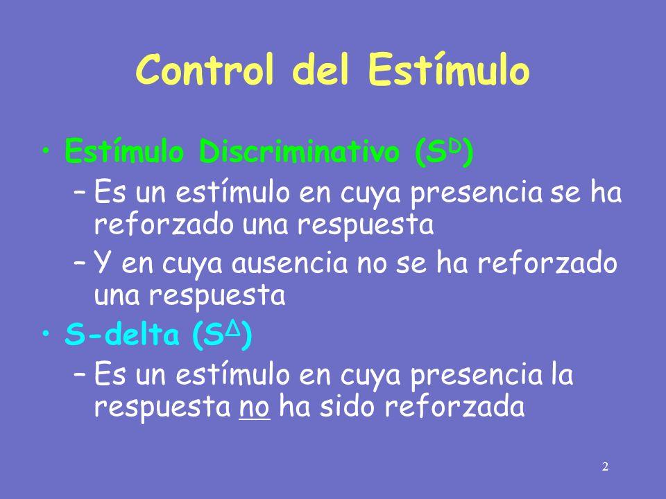 2 Control del Estímulo Estímulo Discriminativo (S D ) –Es un estímulo en cuya presencia se ha reforzado una respuesta –Y en cuya ausencia no se ha ref