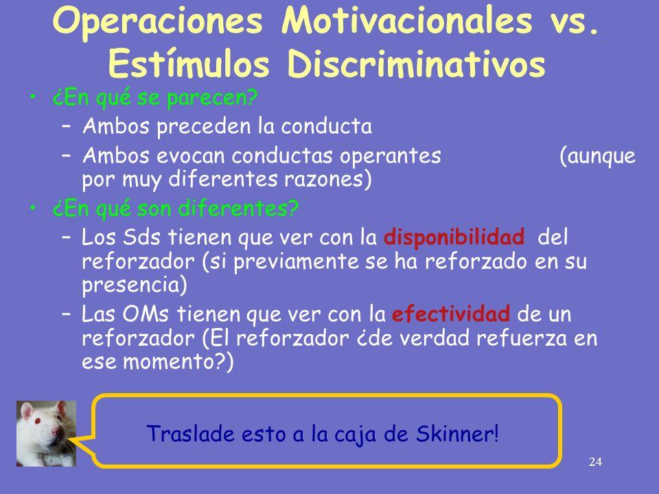 24 Operaciones Motivacionales vs. Estímulos Discriminativos ¿En qué se parecen? –Ambos preceden la conducta –Ambos evocan conductas operantes (aunque