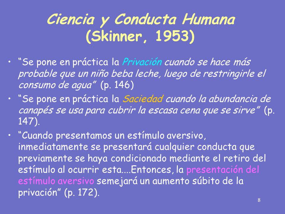 9 En 1950, Keller y Schoenfeld refinaron las ideas de Skinners en su libro titulado Principles of Psychology, empleando el término operaciones de establecimiento Pero desde los últimos años de la década de los 60s, la motivación fue dejada fuera de muchos libros de texto de corte conductual y dejó de considerarse como un principio conductual separado, que era como Skinner la analizaba El Journal of Applied Behavior Analysis que empezó a publicarse en 1968, no contenía en su índice acumulativo (1978, 1988) que abarcaba us primeros 20 años de publicación, alguna referencia a las operaciones de establecimiento.