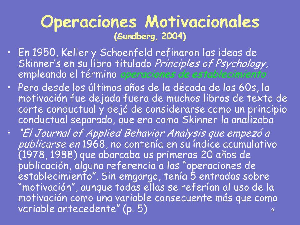 10 En una serie de documentos Jack Michael (1982, 1988, 1993, 2000) elaboró sobre el análisis de Skinner acerca de la motivación, adoptando el término sugerido por Keller y Schoenfeld (1950): operaciones de establecimiento.