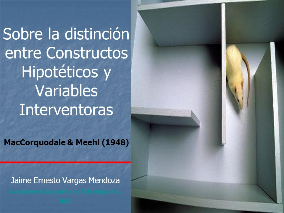 Sobre la distinción entre Constructos Hipotéticos y Variables Interventoras MacCorquodale & Meehl (1948) Jaime Ernesto Vargas Mendoza Asociación Oaxaq