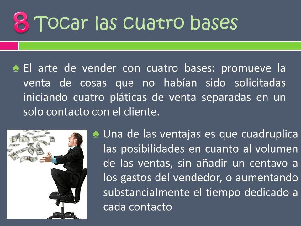 Tocar las cuatro bases El arte de vender con cuatro bases: promueve la venta de cosas que no habían sido solicitadas iniciando cuatro pláticas de vent